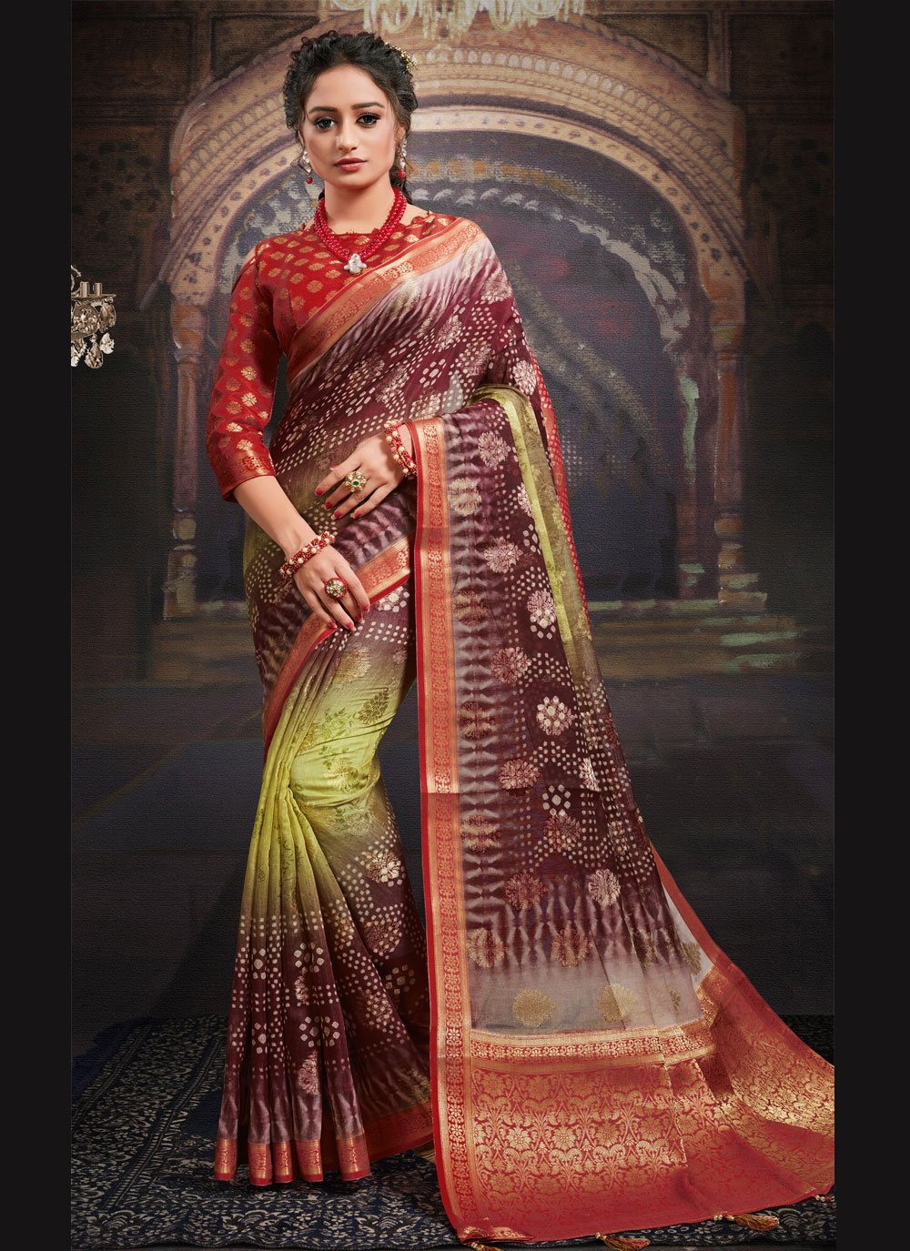 Multi Colour Digital Print Fancy Fabric Designer Saree