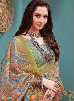 Multi Colour Digital Print Festival Printed Saree