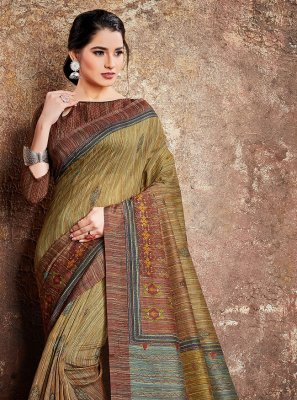 Multi Colour Digital Print Handloom silk Classic Designer Saree