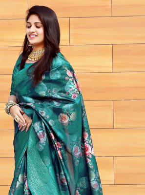 Multi Colour Digital Print Silk Printed Saree