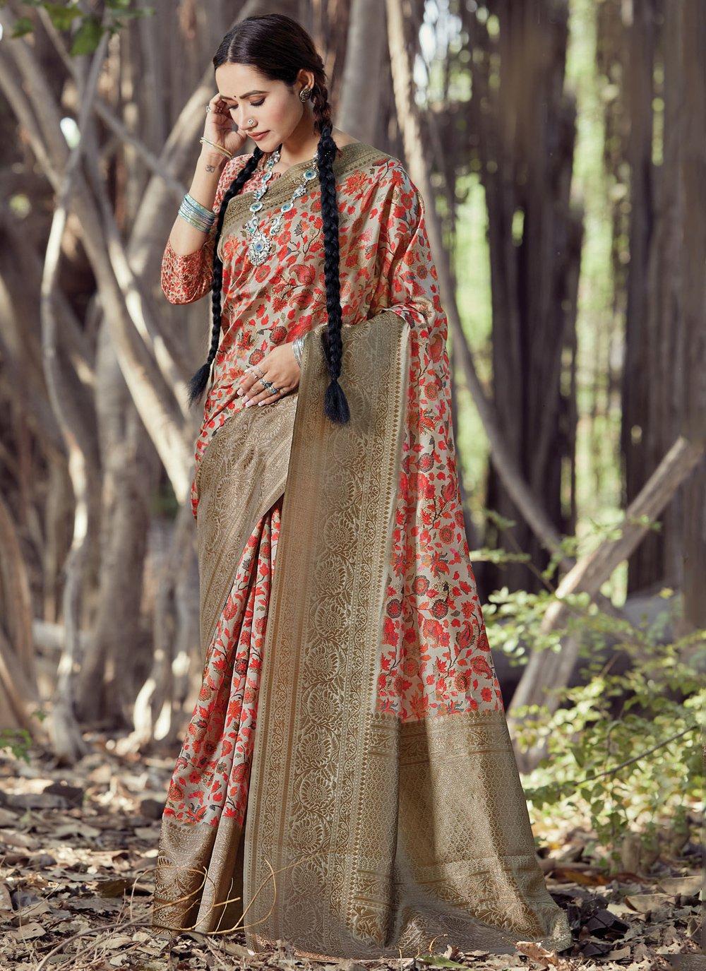 Multi Colour Digital Print Silk Printed Saree