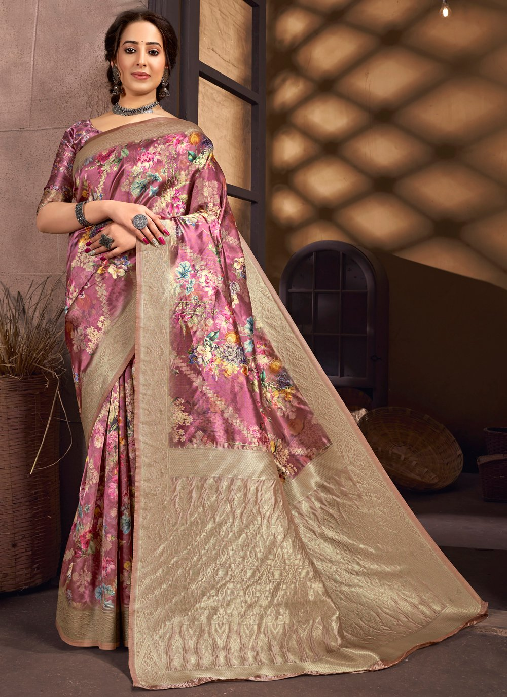 Multi Colour Digital Print Silk Traditional Saree