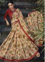 Multi Colour Embroidered Brasso Traditional Saree