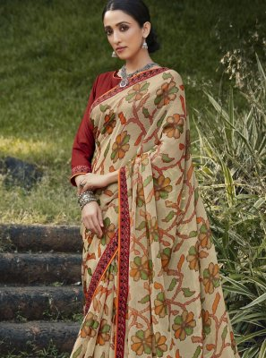 Multi Colour Embroidered Brasso Traditional Saree
