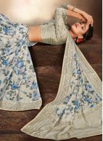 Multi Colour Embroidered Ceremonial Printed Saree