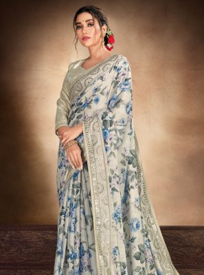 Multi Colour Embroidered Ceremonial Printed Saree