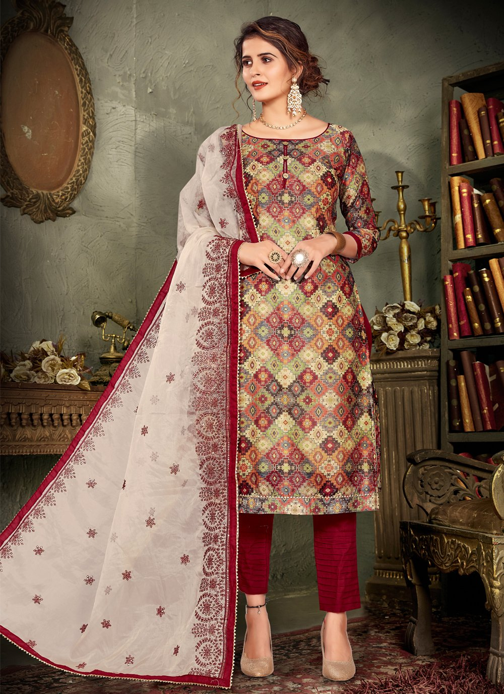 Multi Colour Embroidered Chanderi Designer Pakistani Salwar Suit