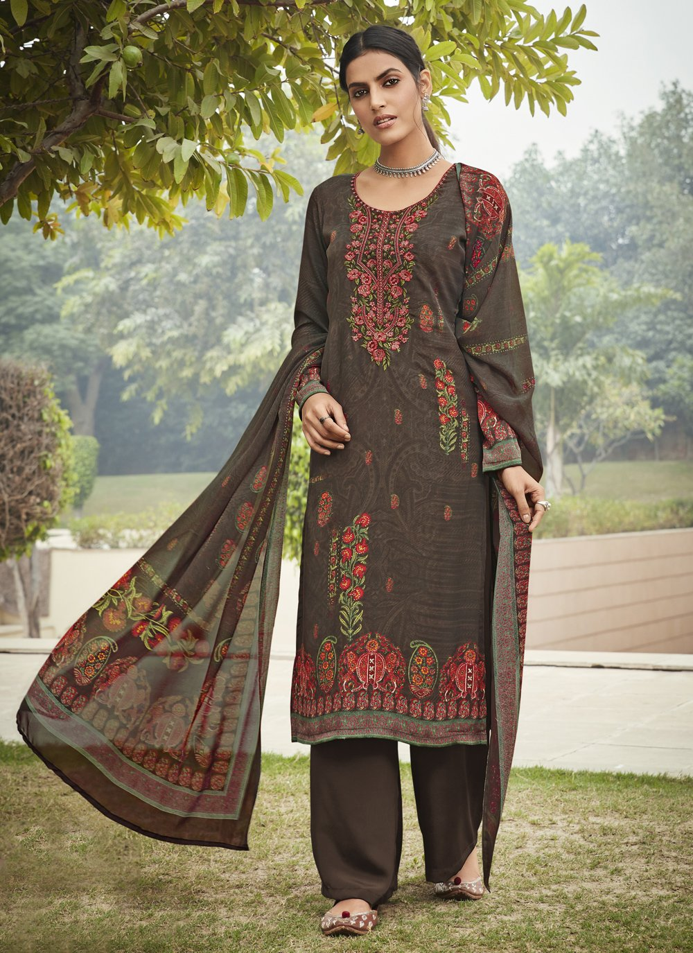 Multi Colour Embroidered Designer Palazzo Salwar Suit
