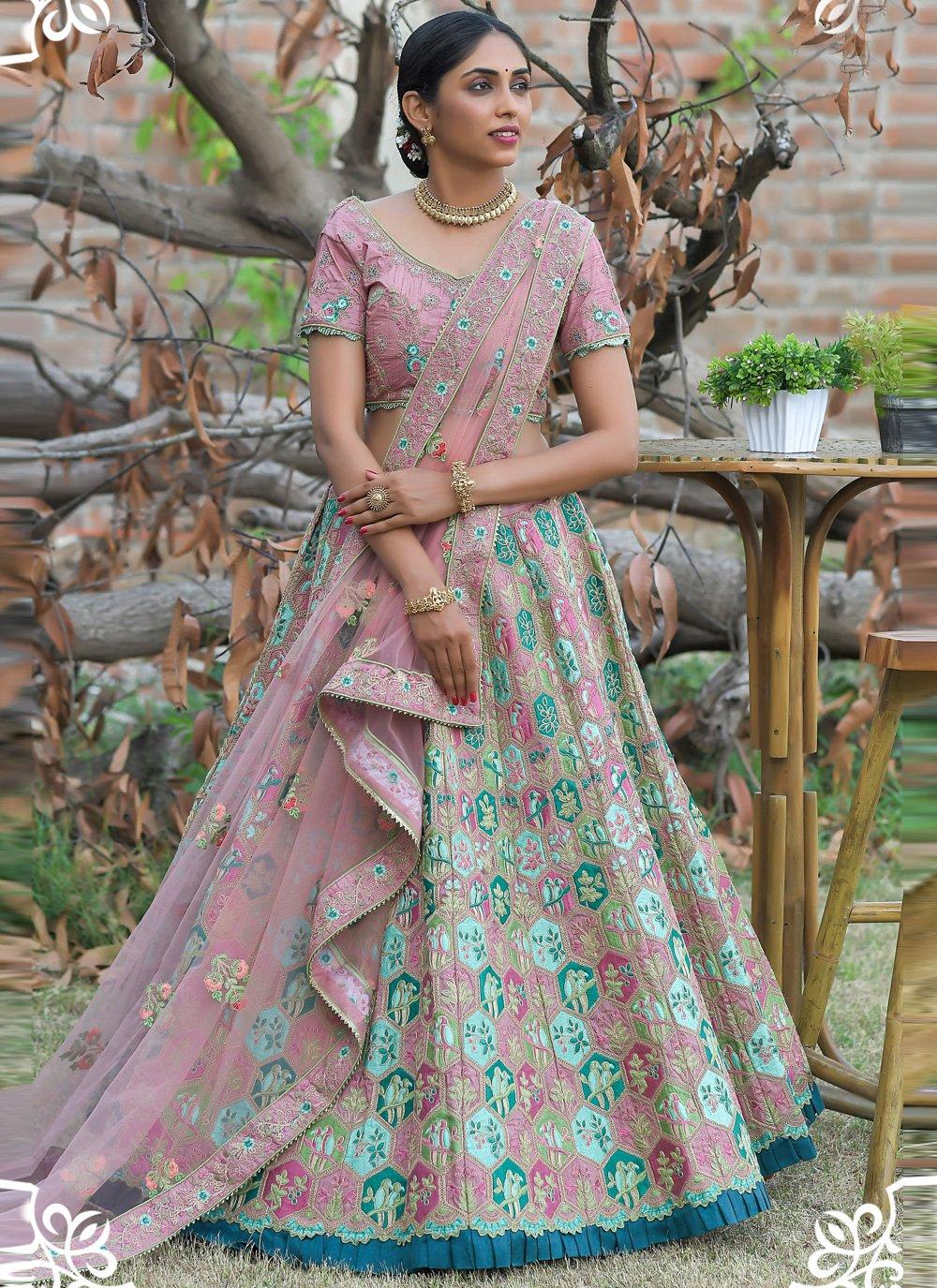 Multi Colour Embroidered Lehenga Choli