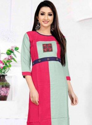Multi Colour Embroidered Rayon Casual Kurti