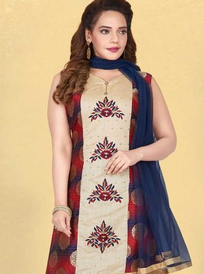 Multi Colour Embroidered Silk Readymade Suit