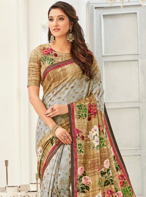 Multi Colour Fancy Fabric Festival Printed Saree