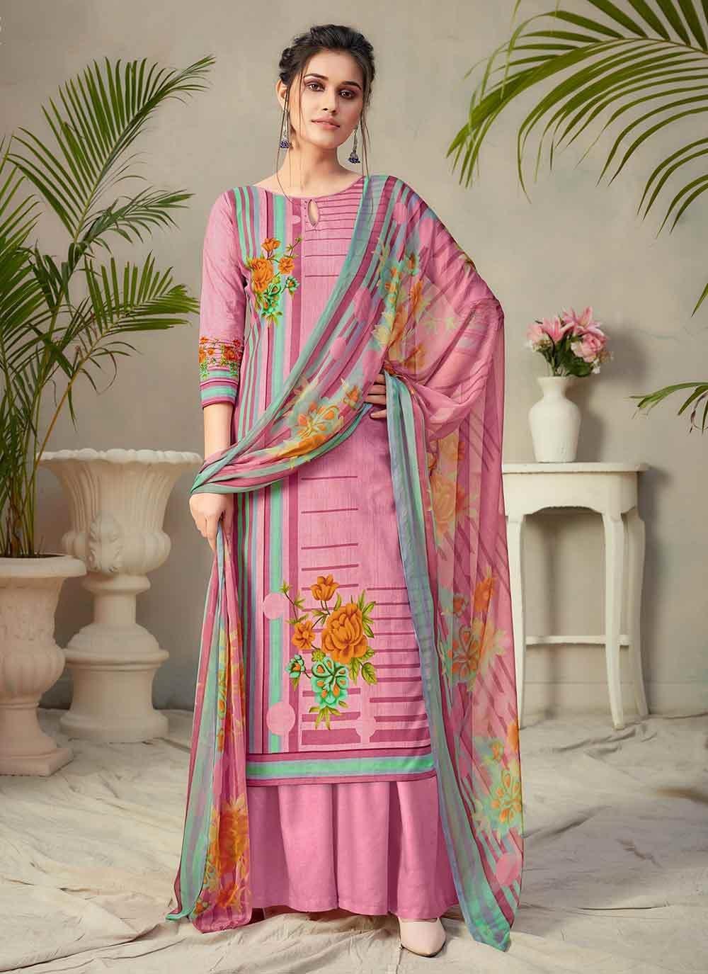 Multi Colour Fancy Fabric Palazzo Designer Salwar Kameez