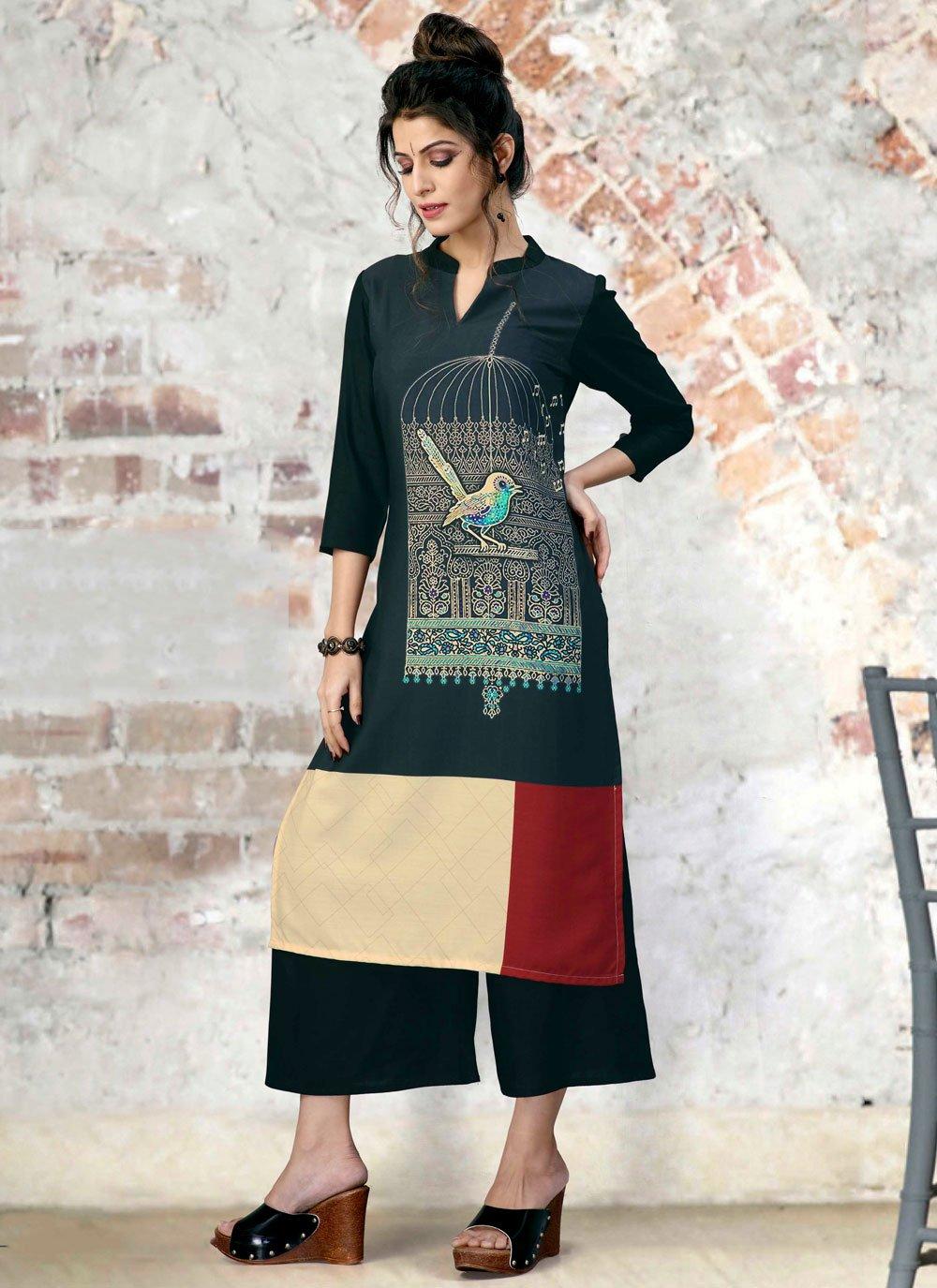 Multi Colour Fancy Fabric Print Party Wear Kurti