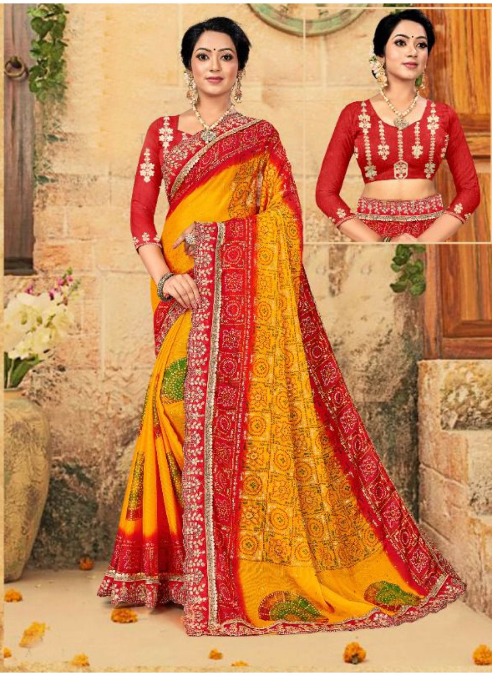 Multi Colour Faux Chiffon Foil Print Trendy Saree