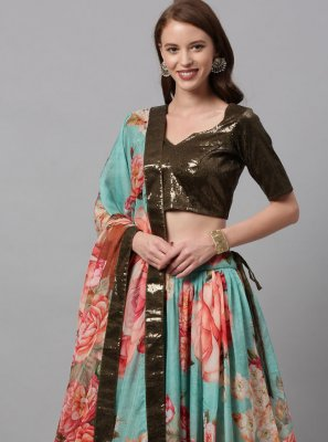Multi Colour Faux Chiffon Lehenga Choli