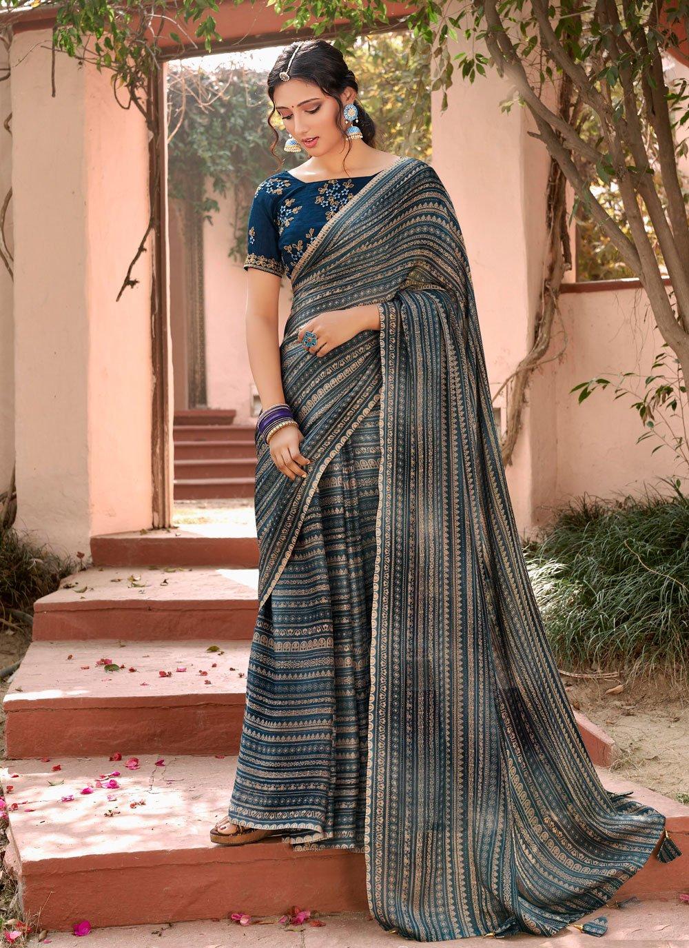 Multi Colour Faux Chiffon Printed Saree
