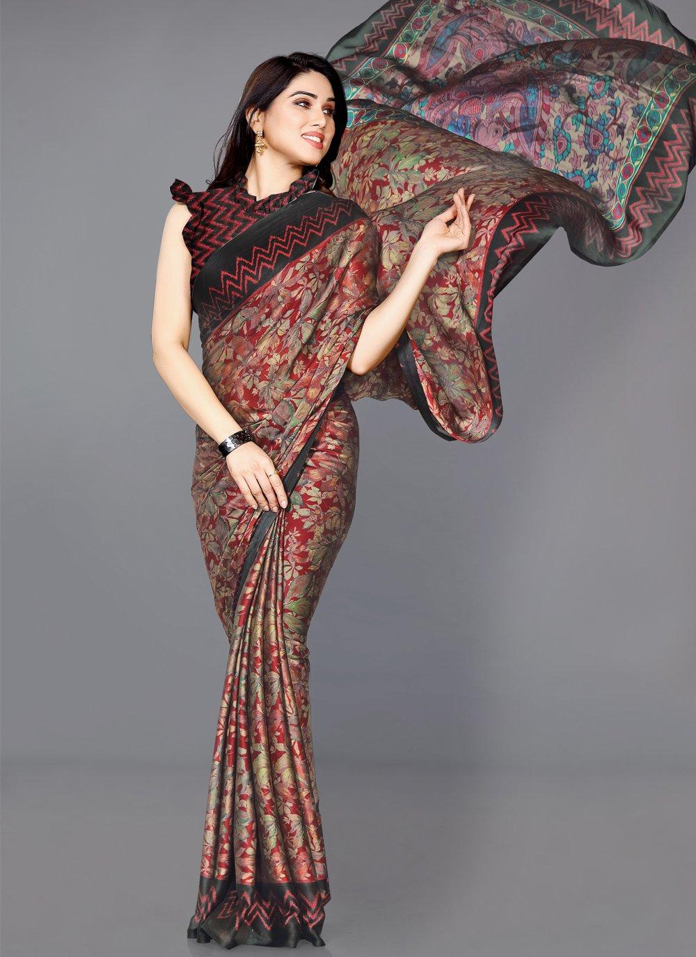 Multi Colour Faux Chiffon Printed Traditional Saree