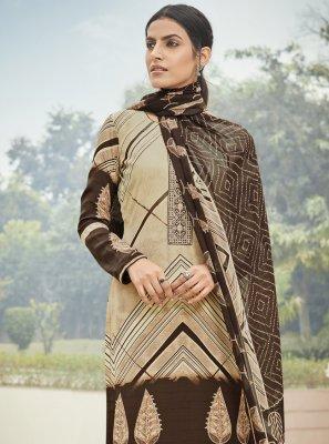 Multi Colour Faux Crepe Embroidered Designer Palazzo Suit