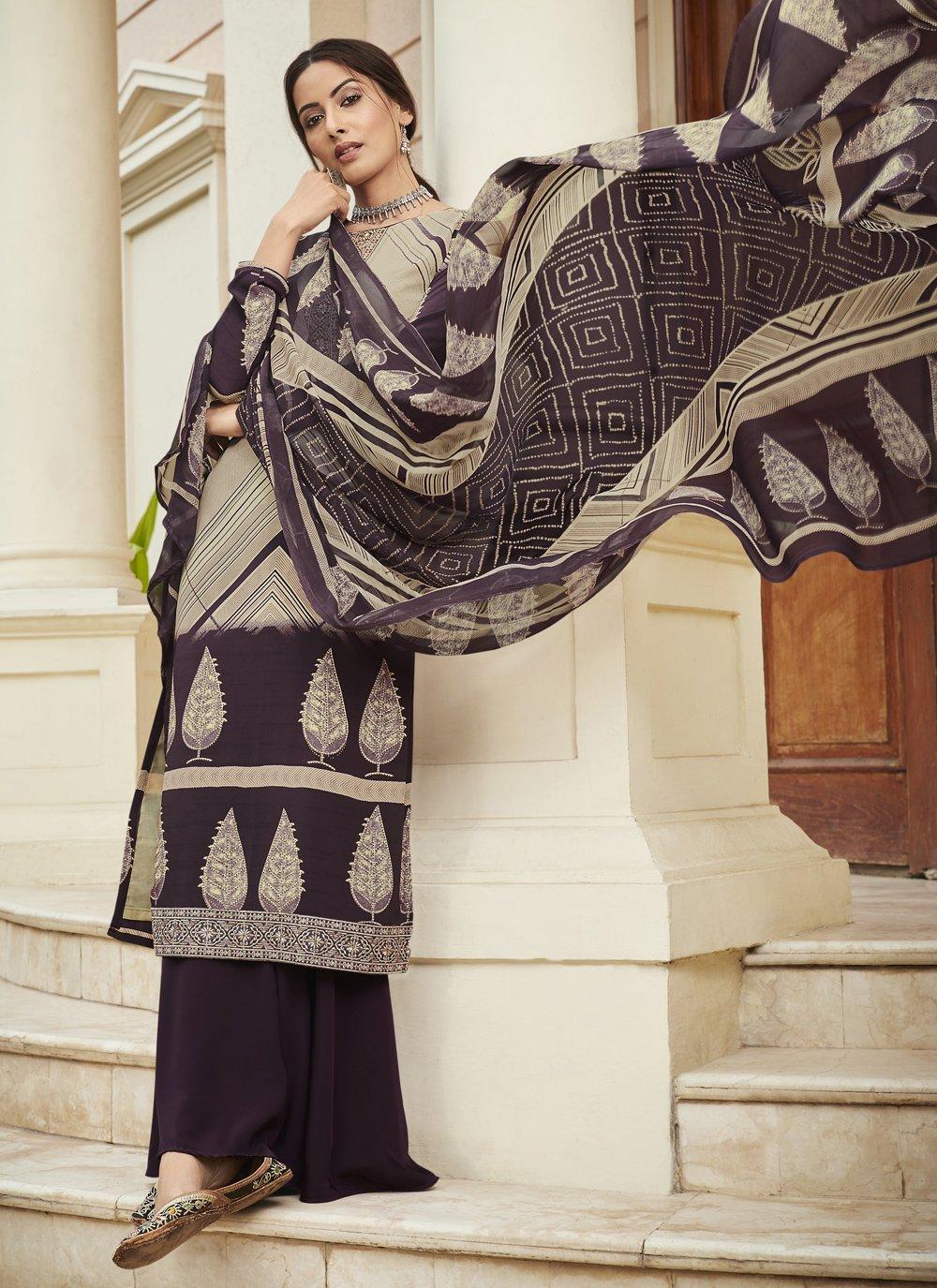 Multi Colour Faux Crepe Festival Designer Palazzo Suit