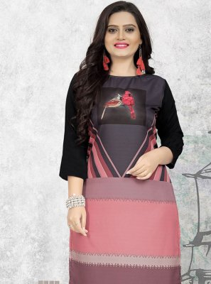 Multi Colour Faux Crepe Print Party Wear Kurti