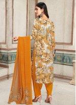 Multi Colour Faux Crepe Punjabi Suit