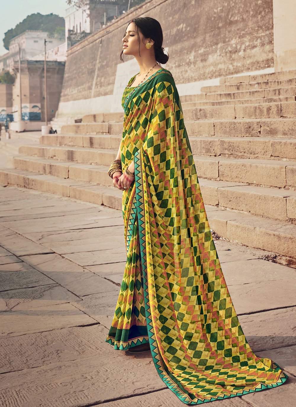 Multi Colour Faux Georgette Floral Print Casual Saree