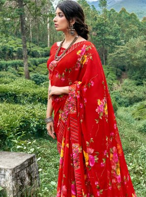 Multi Colour Faux Georgette Floral Print Printed Saree