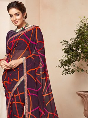 Multi Colour Faux Georgette Party Casual Saree