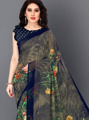 Multi Colour Faux Georgette Printed Bollywood Saree
