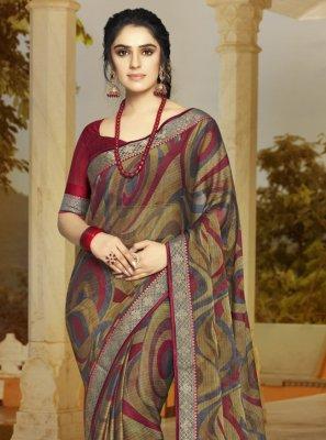 Multi Colour Faux Georgette Printed Trendy Saree