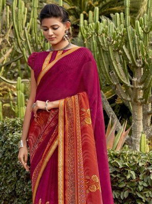 Multi Colour Festival Faux Chiffon Contemporary Saree