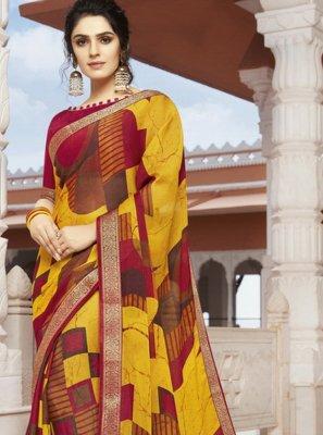 Multi Colour Festival Georgette Designer Saree