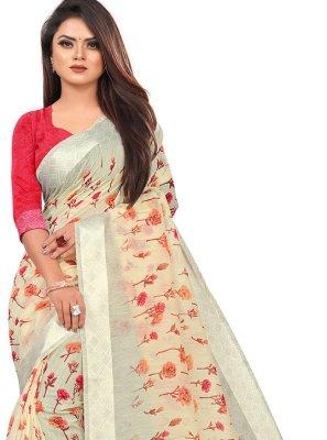 Multi Colour Festival Linen Printed Saree