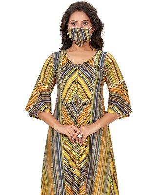 Multi Colour Festival Rayon Party Wear Kurti
