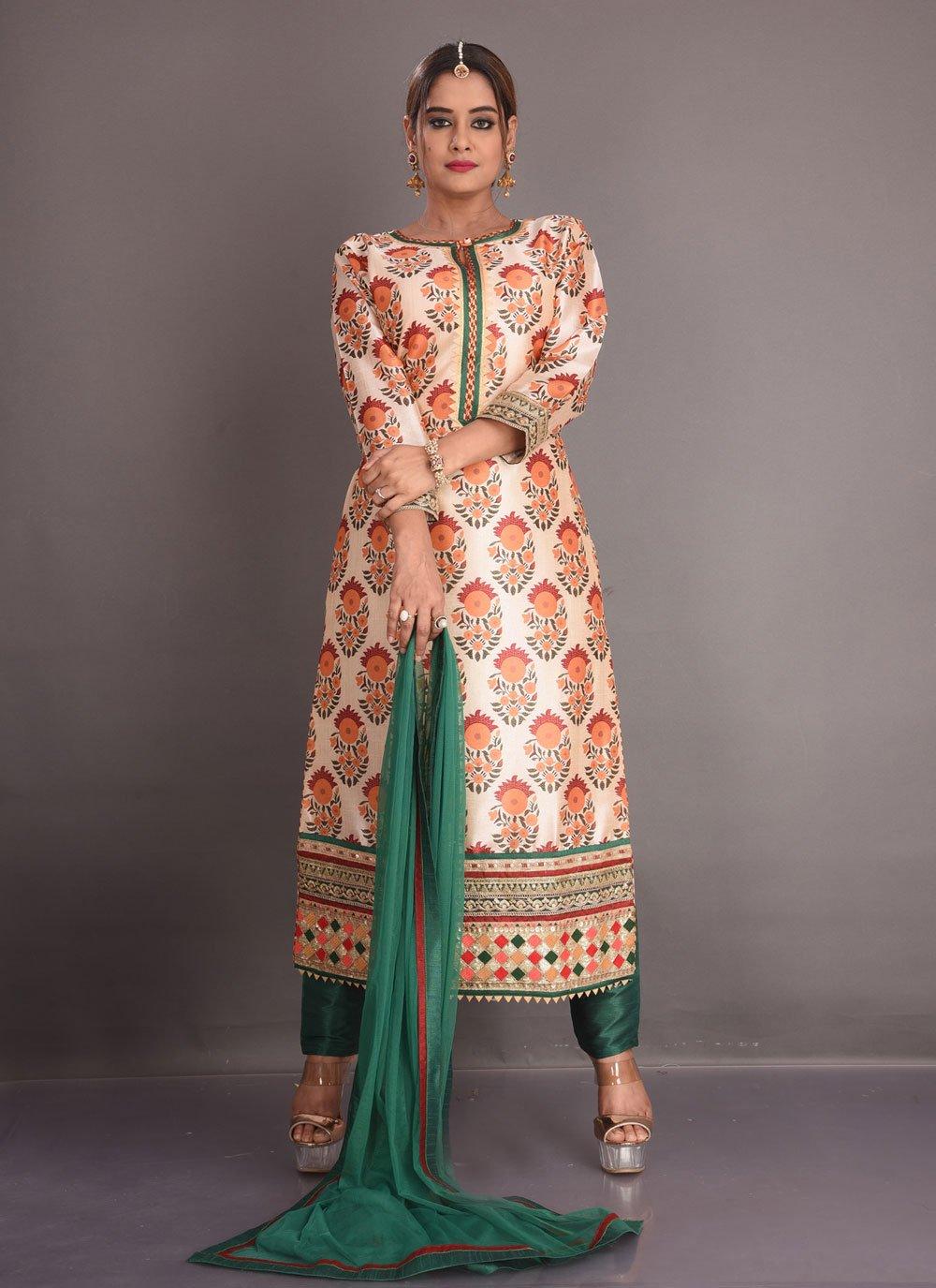 Multi Colour Festival Readymade Suit