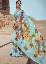 Multi Colour Floral Print Faux Georgette Casual Saree