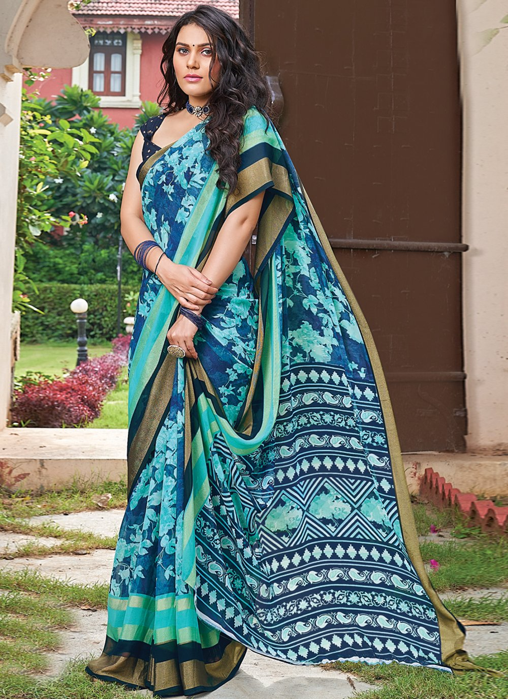Multi Colour Floral Print Saree