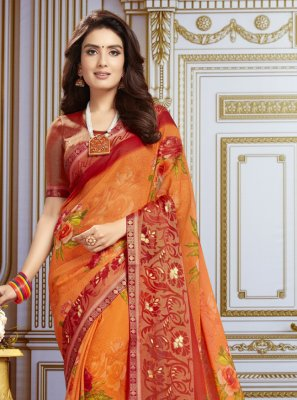 Multi Colour Georgette Festival Traditional Saree