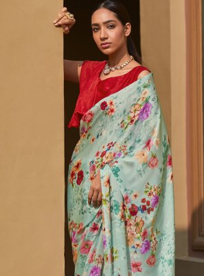 Multi Colour Georgette Satin Digital Print Traditional Saree