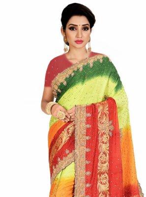 Multi Colour Handwork Designer Saree