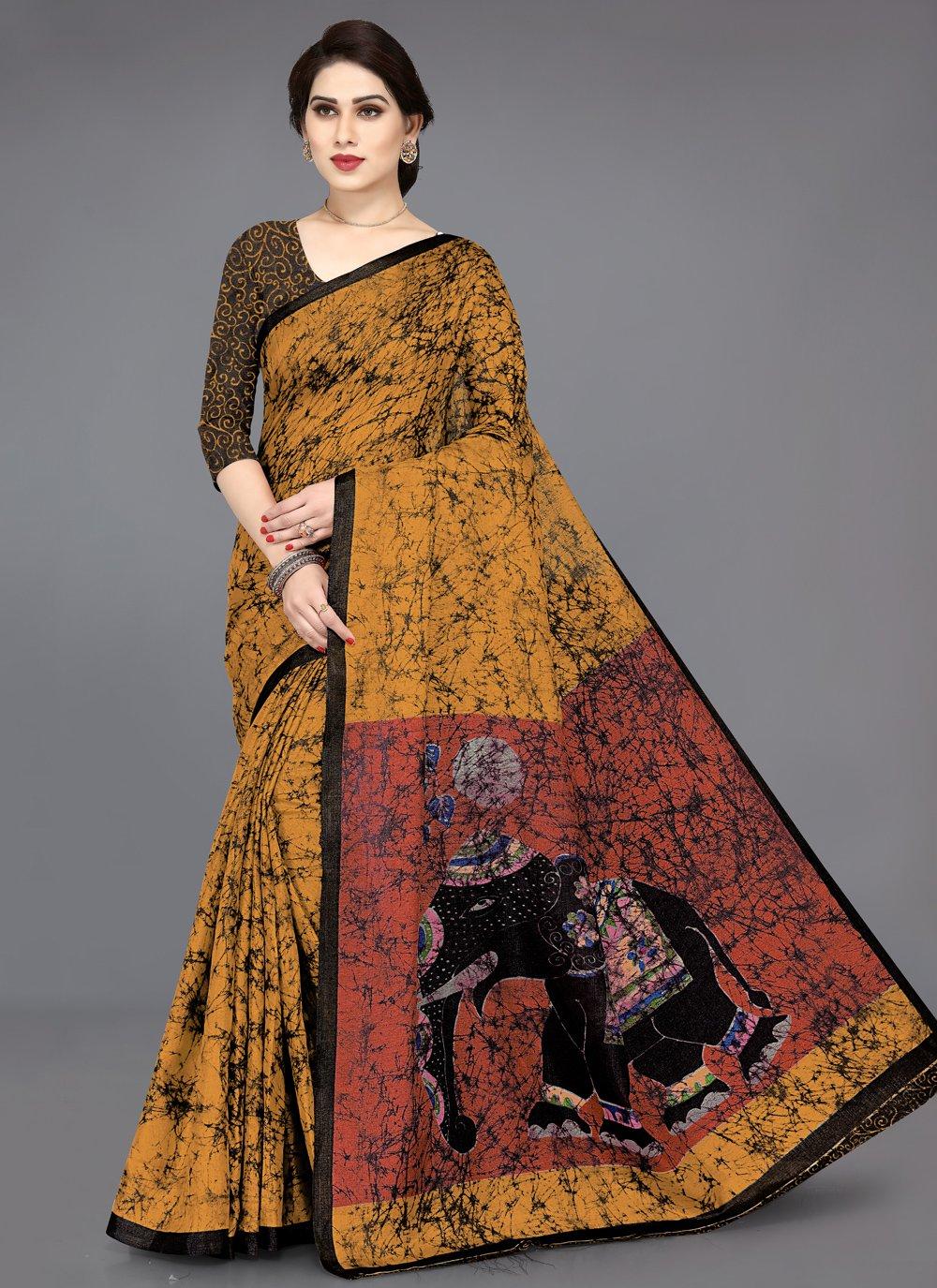 Multi Colour Khadi Silk Casual Printed Saree