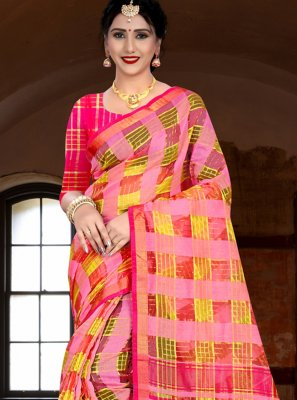 Multi Colour Linen Classic Saree