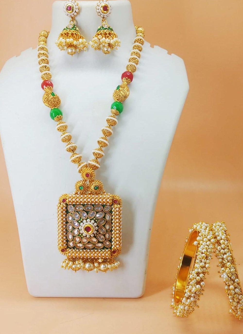 Multi Colour Moti Necklace Set