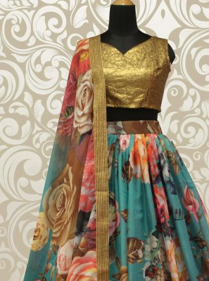 Multi Colour Organza Lehenga Choli