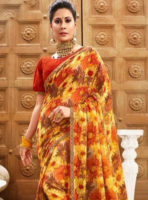 Multi Colour Party Faux Chiffon Contemporary Saree