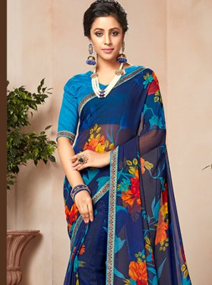 Multi Colour Party Faux Georgette Casual Saree