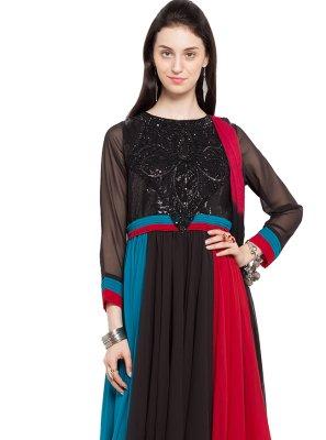 Multi Colour Patchwork Readymade Anarkali Salwar Suit