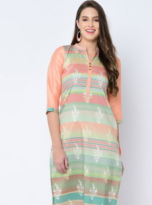 Multi Colour Print Art Silk Designer Kurti
