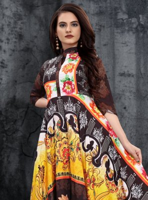 Multi Colour Print Festival Party Wear Kurti